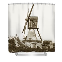 Shower Curtain featuring the photograph Wind Mill In France 1900 Historical Photo by California Views Mr Pat Hathaway Archives