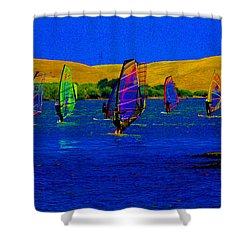 Wind Surf Lessons Shower Curtain