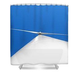 Wind Turbine Blue Sky Shower Curtain