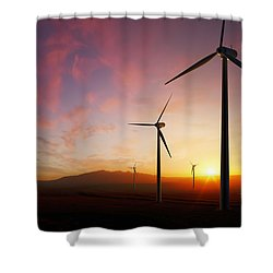 Wind Turbines At Sunset Shower Curtain
