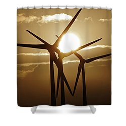 Wind Turbines Silhouette Against A Sunset Shower Curtain