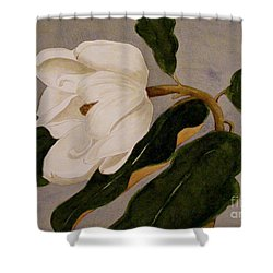 Shower Curtain featuring the painting Windblown Magnolia by Nancy Kane Chapman