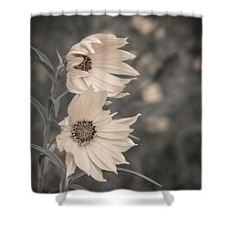 Shower Curtain featuring the photograph Windblown Wild Sunflowers by Patti Deters