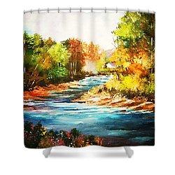 A Winding Stream In Autumn Light Shower Curtain