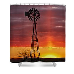 Shower Curtain featuring the photograph Windmill And Light Pillar by Rob Graham