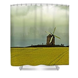 Windmill And Rapeseed And Storm Shower Curtain