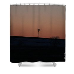 Shower Curtain featuring the photograph Windmill At Sunset by Ann E Robson