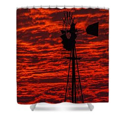Windmill At Sunset Shower Curtain by Rob Graham