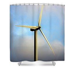 Windmill Dark Blue Sky Shower Curtain