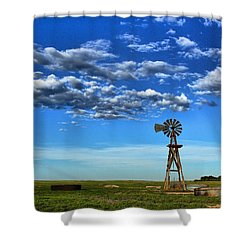 Windmill In Blue Shower Curtain