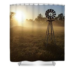 Windmill In The Fog Shower Curtain