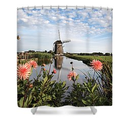 Windmill Landscape In Holland Shower Curtain