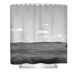 Windmill On The Plains - Black And White Shower Curtain by Justin Woodhouse
