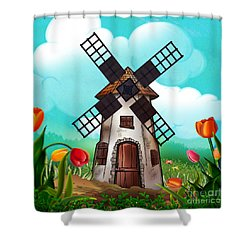 Windmill Path Shower Curtain by Bedros Awak
