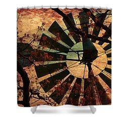Windmill Through The Oak Shower Curtain by Deena Stoddard