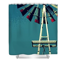 Windmill Shower Curtain by Valerie Reeves