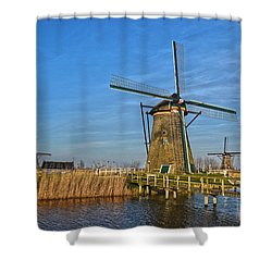 Windmills And Bridge Near Kinderdijk Shower Curtain