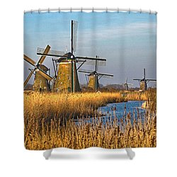 Windmills And Reeds Near Kinderdijk Shower Curtain