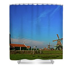 Windmills At Zaanse Schans Shower Curtain by Jonah  Anderson