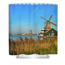 Windmills On De Zaan Shower Curtain by Jonah  Anderson