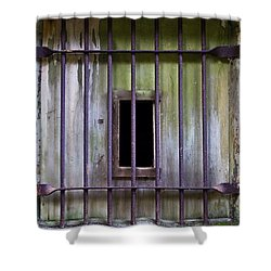 Window At The Fort Shower Curtain by Marie Jamieson