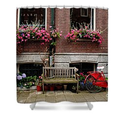 Window Box Bicycle And Bench  -- Amsterdam Shower Curtain