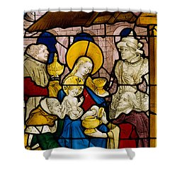Window Depicting The Adoration Of The Kings Shower Curtain by Flemish School
