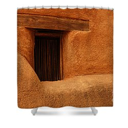 Shower Curtain featuring the photograph Window Detail Degrazia Mission In The Sun by Vivian Christopher