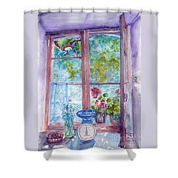 Shower Curtain featuring the painting Window by Jasna Dragun