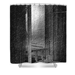 Window Ocean View Black And White Digital Painting Shower Curtain by Cathy Anderson
