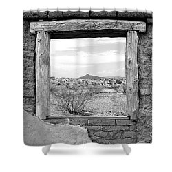 Window Onto Big Bend Desert Southwest Black And White Shower Curtain