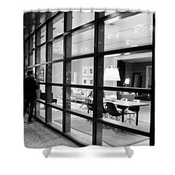 Window Shopping In The Dark Shower Curtain by Melinda Ledsome