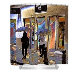 Window Shopping In The Rain Shower Curtain by Ben and Raisa Gertsberg