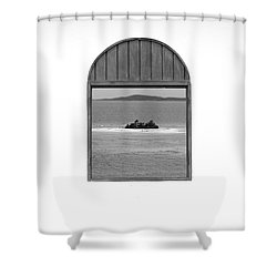 Window View Of Desert Island Puerto Rico Prints Black And White Shower Curtain by Shawn O'Brien