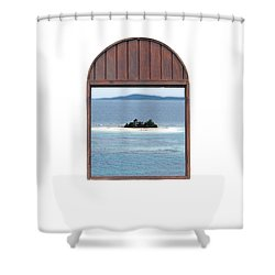 Window View Of Desert Island Puerto Rico Prints Diffuse Glow Shower Curtain by Shawn O'Brien