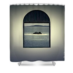 Window View Of Desert Island Puerto Rico Prints Lomography Shower Curtain by Shawn O'Brien