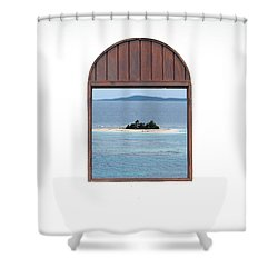 Window View Of Desert Island Puerto Rico Prints Shower Curtain by Shawn O'Brien