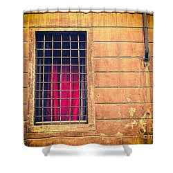 Window With Grate And Red Curtain Shower Curtain by Silvia Ganora