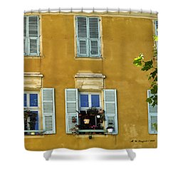 Shower Curtain featuring the photograph Windowboxes In Nice France by Allen Sheffield
