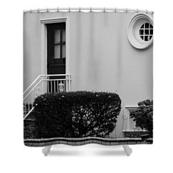 Windows In The Round In Black And White Shower Curtain by Rob Hans