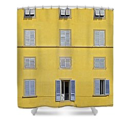 Windows Of Florence Against A Faded Yellow Plaster Wall Shower Curtain