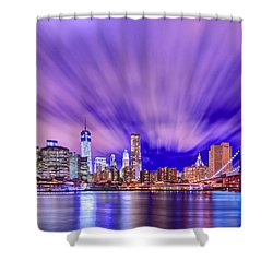 Winds Of Lights Shower Curtain by Midori Chan