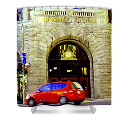 Windsor Train Station Canadian Pacific Downtown Montreal Historic Quebec Landmarks Carole Spandau Shower Curtain by Carole Spandau