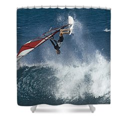 Windsurfer Hanging In Shower Curtain by Bob Christopher