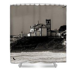Windsurfer On Ocean In Back Of Church Shower Curtain