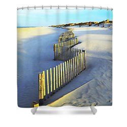 Windswept At Sunset - Jersey Shore Shower Curtain by Joseph J Stevens