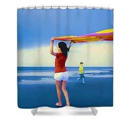 Children Playing On The Beach Shower Curtain by Vizual Studio