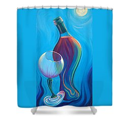 Shower Curtain featuring the painting A Wine Affair by Sandi Whetzel