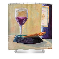 Wine And Cigar Shower Curtain by Todd Bandy