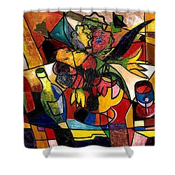 Wine And Flowers For Two Shower Curtain by Everett Spruill
